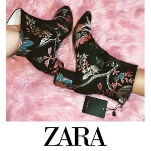 Gorgeous Floral Embroidered Zara Booties